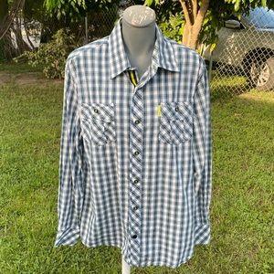 Cavi Men's Plaid Long Sleeve Button Down Shirt XL